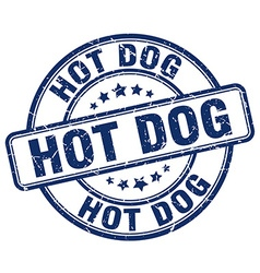 Hot dog blue grunge round vintage rubber stamp vector