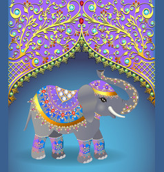 Indian elephant decorated for a wedding vector
