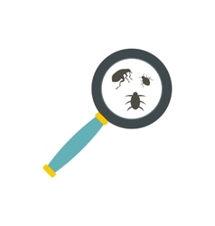 Insect parasites under magnifying glass icon vector