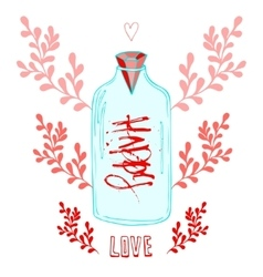 Jar of Love with creative lettering Happy Cute vector image vector image