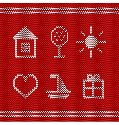 Knitted icons vector image vector image
