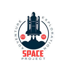 Logo of spacecraft launch space exploration and vector