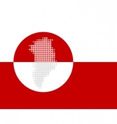 map and flag of Greenland vector image vector image