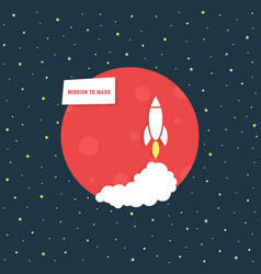 Mission to mars with red planet vector