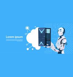 Modern robot hold cloud database server vector