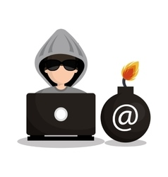 Security system hacked mail design vector