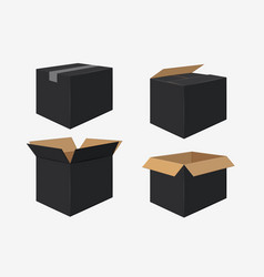 Set of four cardboard boxes open and closed black vector