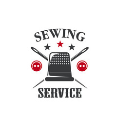 sewing thimble icon for tailor dressmaker vector image
