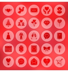 Solid circle love heart icons vector