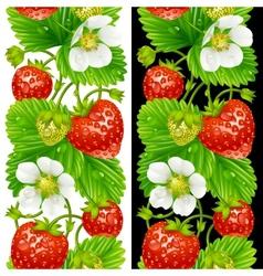 Strawberry seamless vertical pattern vector