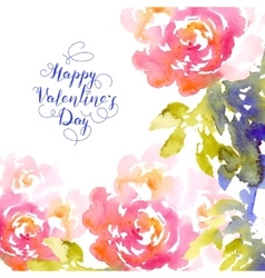 Valentines day greeting with pink roses vector