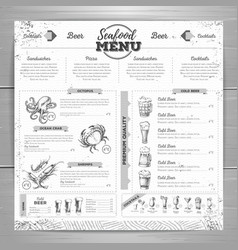 Vintage beer menu design vector