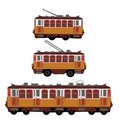 Vintage tram electric train trolleybus retro vector