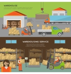 Warehouse transportation banners vector image vector image