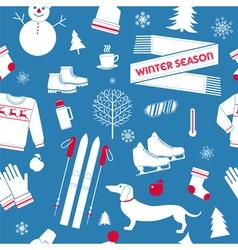 Winter Season Seamless Pattern in Retro Style vector image