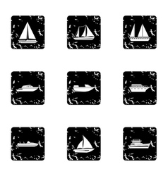 Yacht icons set grunge style vector