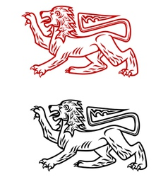Ancient heraldic lion silhouette vector