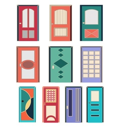 Collection of colorful front doors to houses and b vector