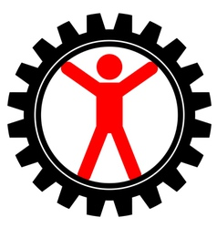 Icon of man in cog-wheel vector