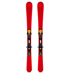 Winter sports themed red touring skis in flat vector