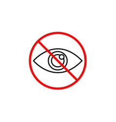 Do not spy line icon prohibition sign forbidden vector
