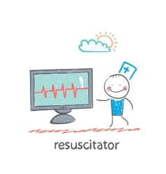 resuscitation is a monitor shows the heartbeat vector image