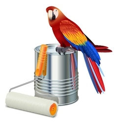 Paint can with roller brush and parrot vector