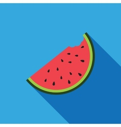 Big watermelon slice cut with seed flat design vector