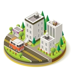 Isometric camper travel icon 1 vector