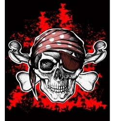 Jolly roger pirate symbol with crossed bones vector