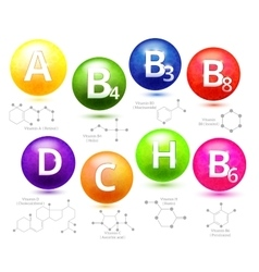 Vitamins chemical structures vector