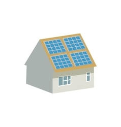 House with solar batteries on the roof icon vector