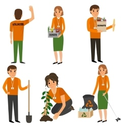 Volunteer people in work vector