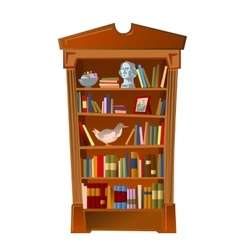 Bookshelf with bust photo frame and toy vector