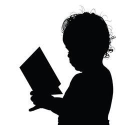 Child reading silhouette vector