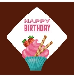 Cupcake icon happy birthday design vector