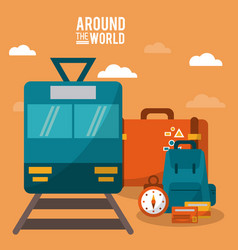 around the world train railway clock luggage vector image