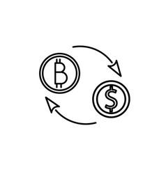bitcoin dollar exchange icon vector image vector image