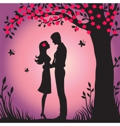 Black silhouette of lovers embracing vector