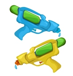 Blue and yellow kids toy water pistols vector