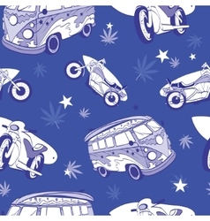 Blue surfboards on hippie bus motorcylces vector
