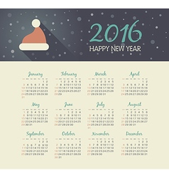 Calendar 2016 year with christmas hat vector