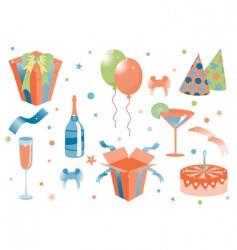 cartoon birthday icons vector image