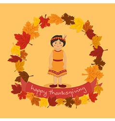 Circle autumn leaf thanksgiving indian girl vector