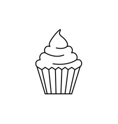 cream cupcake line icon sign vector image vector image