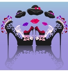 Expanded women flat icon set vector image