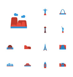 Flat icons waterfall london architecture and vector