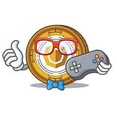 Gamer komodo coin mascot cartoon vector