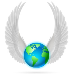 Globe with white wings on white vector image