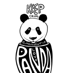 keep calm and love panda poster artwork vector image vector image